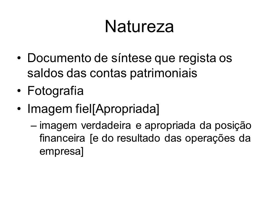 Natureza Documento de síntese que regista os saldos das contas patrimoniais. Fotografia. Imagem fiel[Apropriada]